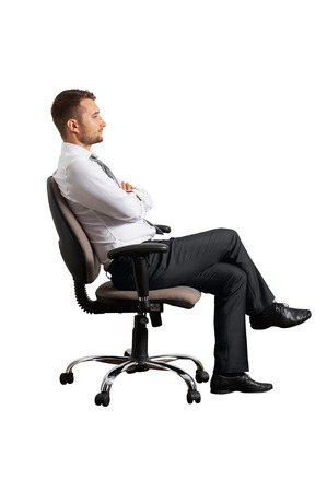 Photo for sideview of businessman on the office chair. isolated on white background - Royalty Free Image
