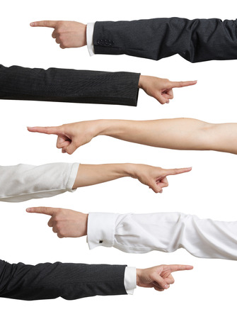 Photo pour set of different mans and womans hands in formal wear pointing. isolated on white background - image libre de droit