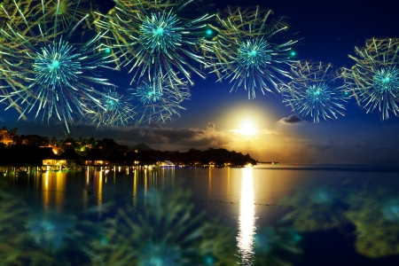 Photo for Festive New Year's fireworks over the tropical island - Royalty Free Image