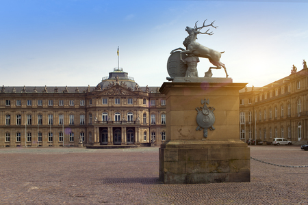 STUTTGART,GERMANY- MAY 31, 2012:  Deer sculpture with crest in front of the main entrance of the New Castle (Neues Schloss) in Germany, Stuttgart