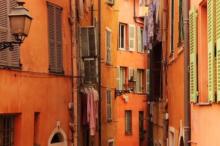 Narrow Street in Old Nice, France with Hanging Laundry