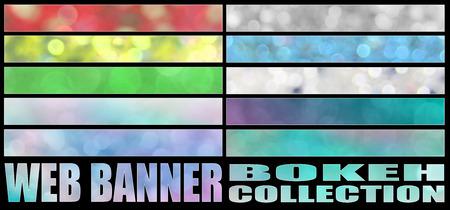 Foto de set 8. full web banner bokeh collection. standard size for full banner or leaderboard. - Imagen libre de derechos