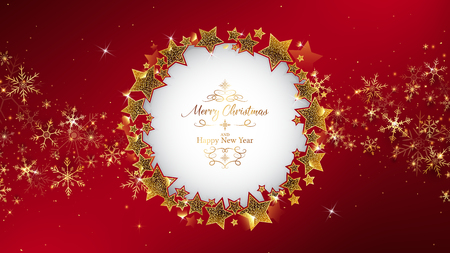 red christmas background frame rounding by star glitters,inside circle has die cut and some example luxury theme text,corner lay down by gold snowflakes and some glitters like spread out from center
