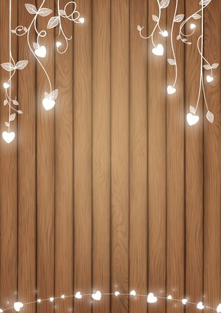 Illustration pour Romantic background conception included brown wood planks and white glowing heart as doodle vines style - image libre de droit