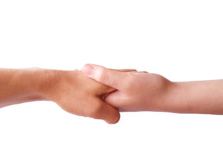 Photo pour Two hands holding each other strongly. Helping hand concept. - image libre de droit