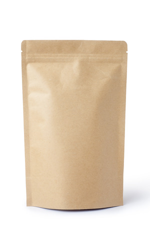 Brown paper food bag packaging with valve and seal, Isolated on white.