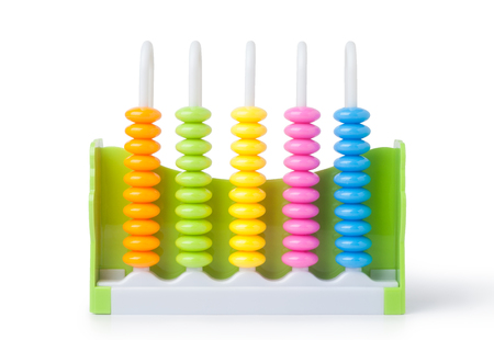 Colorful plastic abacus isolated on white background