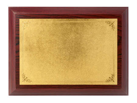 Photo pour Wood plaque with gold plate isolate on white background - image libre de droit