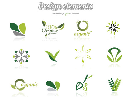 Collection of green ecological icons, illustration isolated on white background