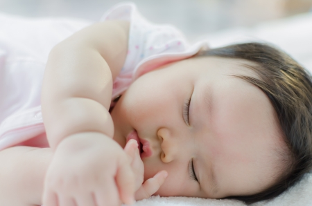 close up of asian baby girl sleeping
