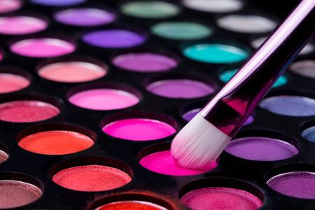 brushes and make-up eye shadows