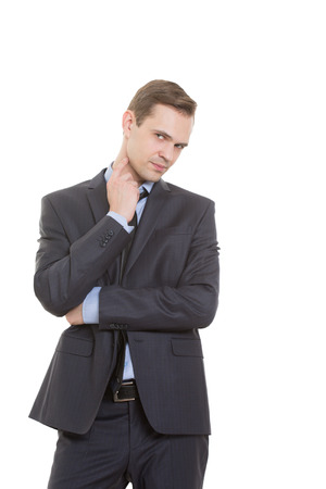 body language. man in business suit isolated white background. gesture lie or doubt. touching the neck