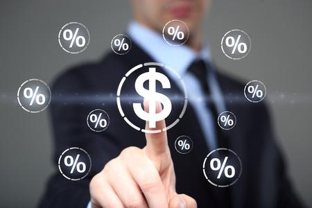 Businessman touch button dollar communication percent icon