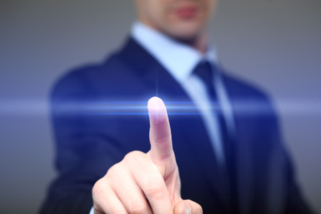 Photo pour business, technology, internet and networking concept - businessman pressing button with contact on virtual screens - image libre de droit