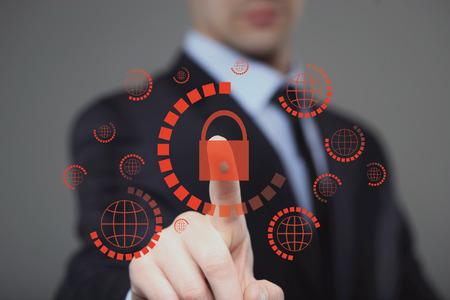 Photo pour business, technology, internet and virtual reality concept - businessman pressing cyber security button on virtual screens - image libre de droit