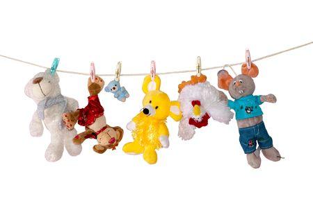 Foto de Color toys on cord - Imagen libre de derechos