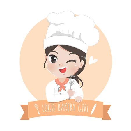 Illustration pour The little bakery girl chef's logo is happy,tasty and sweet smile. - image libre de droit