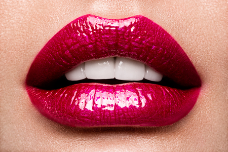 Photo for Sexy Lips. Beauty Red Lips Makeup Detail. - Royalty Free Image