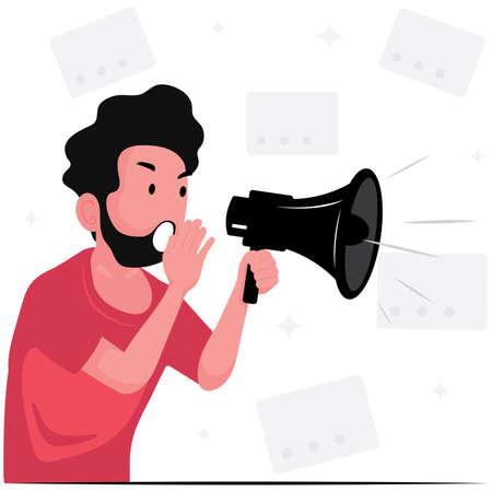 Illustration pour A man announce the news with megaphone - image libre de droit