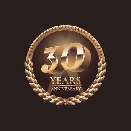 Ilustración de 30 years anniversary vector icon. 30th celebration design. Golden jubilee symbol - Imagen libre de derechos