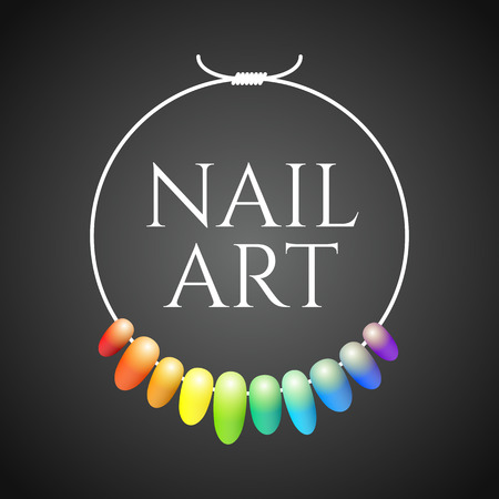 Illustration pour Manicure vector logo. Nonstandard design, colorful illustration - image libre de droit