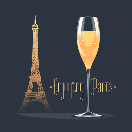 Illustration for French Eiffel tower and glass of champagne vector illustration. Visit France, Paris concept design element with French architecture symbol. Sparkling champagne as celebration icon - Royalty Free Image