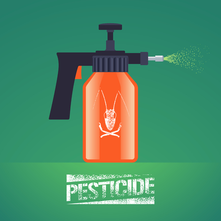 Pest insects control spray equipment vector illustration for farming, gardening, agriculture. Design element with pesticide sign as stamp. Logo with insect on spray bottle