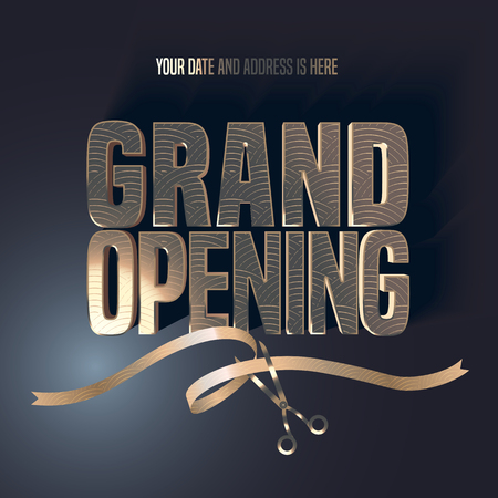 Illustration pour Grand opening vector illustration, background with golden lettering sign and scissors cutting ribbon. Template banner, flyer, design element, decoration for opening ceremony - image libre de droit