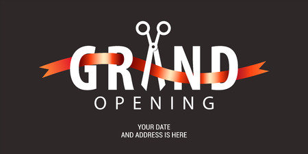 Illustration pour Grand opening vector background. Scissors and red ribbon nonstandard design element for banner or backdrop for opening ceremony - image libre de droit