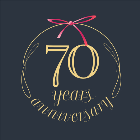 Ilustración de 70 years anniversary celebration vector icon, logo. Template design element with golden number and red bow for 70th anniversary greeting card - Imagen libre de derechos