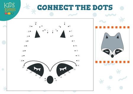 Illustration pour Connect the dots kids game vector illustration. Preschool children education activity with joining dot to dot and coloring raccoon head - image libre de droit