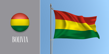 Bolivia waving flag on flagpole and round icon vector illustration.