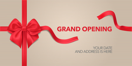 Grand opening vector background. Red ribbon and bow design element for poster or banner for opening event