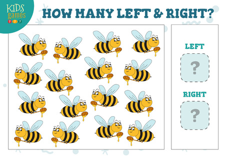 Illustration pour How many left and right cartoon bees kids counting game vector illustration - image libre de droit