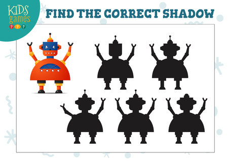 Illustration pour Find the correct shadow for cute cartoon robot educational preschool kids mini game. Vector illustration with 5 silhouettes for shadow matching exercise - image libre de droit