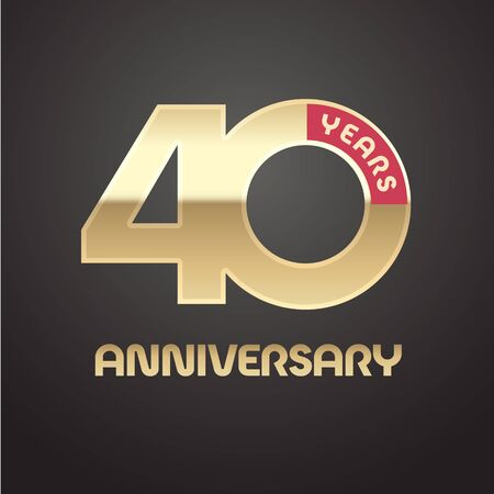 Illustration for 40 years anniversary vector icon. Graphic symbol with golden number - Royalty Free Image