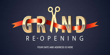 Illustration pour Grand opening or re opening soon vector banner, illustration - image libre de droit