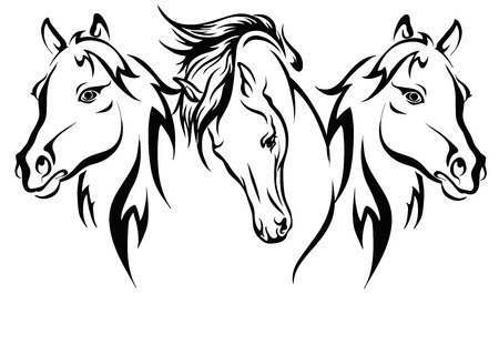 Illustration for Three horses, vector format, three horses circuit. - Royalty Free Image