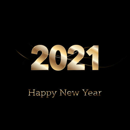 Photo pour Happy New year 2021 - new year Shining background with gold numbers and glitter. Bokeh background. Stars - image libre de droit