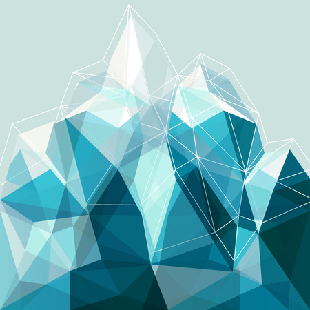 Abstract geometry snow blue arctic mountain illustration, design backdrop for presentation