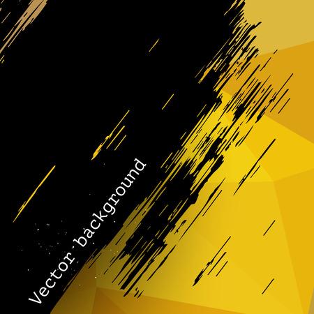 Ilustración de Yellow abstract vector triangle geometric background with grunge black brush stain, backdrop for design - Imagen libre de derechos