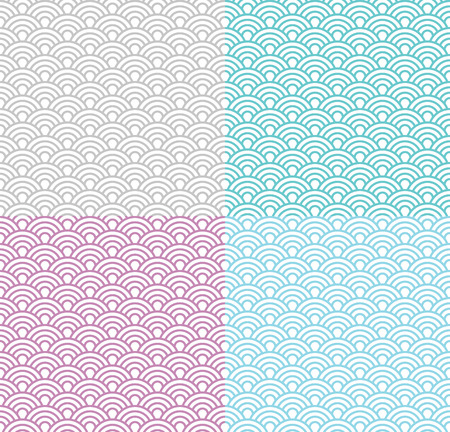 Isolated wave seamless pattern set, vector simple background in japanese style; different colors