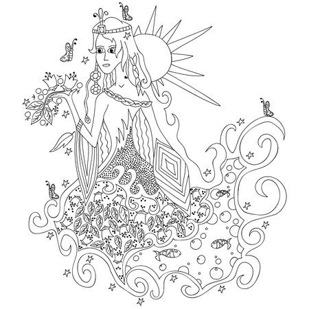Fantastic witch. Vector illustration, black outline on white background, hand-drawn