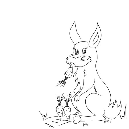 Rabbit eating carrot.Vector illustration, abstract, black outline on white background, hand-drawn