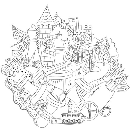 Chess city.Vector illustration, abstraction, black outline on white background, drawn by hand