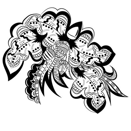 Abstract floral pattern .Vector illustration, abstract, black outline on white background, hand-drawn