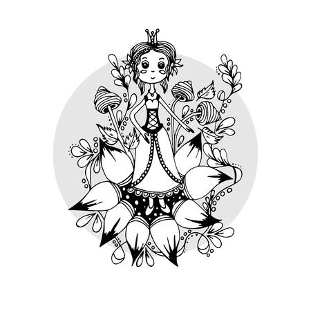 Illustration pour A girl in a flower, a sketch drawn by hand - image libre de droit