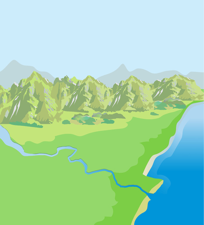Mountains Landscape Green Valley Top View Vector Background Drawing Pictures Definition