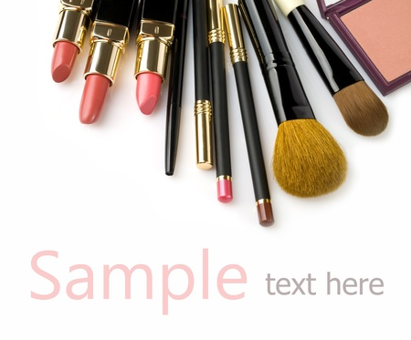 makeup brush and cosmetics, on a white background の写真素材