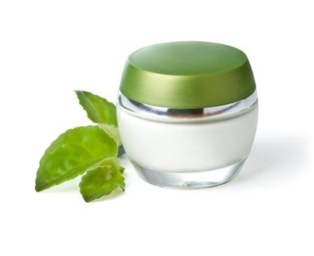 white jar of cream isolated on white background